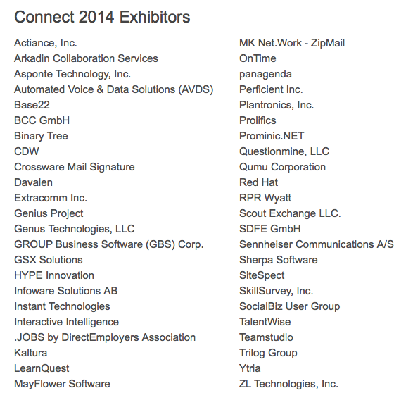 IBM Connect 2014 Product Showcase Exhibitors