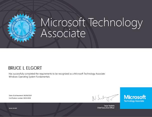 Windows OS MTA Certificate